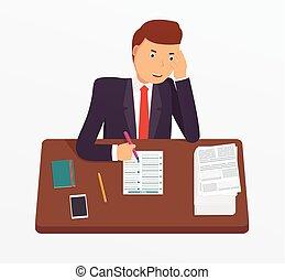 uomo affari, occupato, documents.