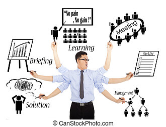 uomo affari, occupato, quotidiano, orari, o, multitaskings