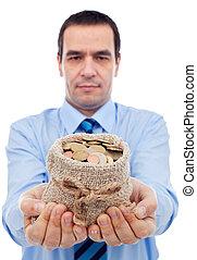 uomo affari, offerta, lei, uno, borsa denaro