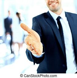 uomo affari, offerta, uno, stretta di mano