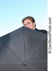uomo affari, ombrello, 4