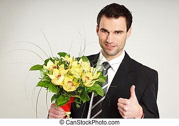 uomo affari, orchidee