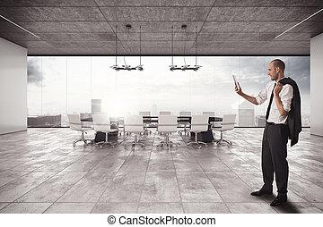 uomo affari, organizza, riunione