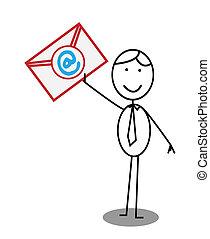uomo affari, palo, email