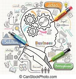 uomo affari, pensare, concetto, doodles, icone, set.