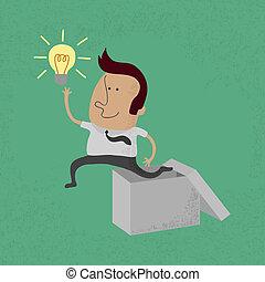 uomo affari, pensare, esterno, scatola