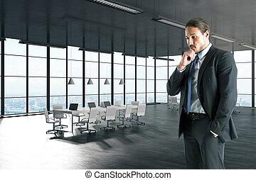 uomo affari, pensieroso, giovane, ufficio