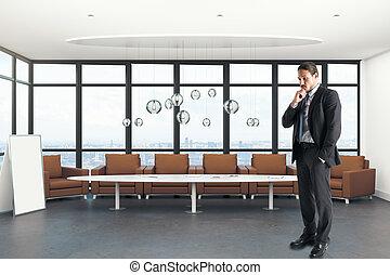 uomo affari, pensieroso, ufficio contemporaneo, europeo