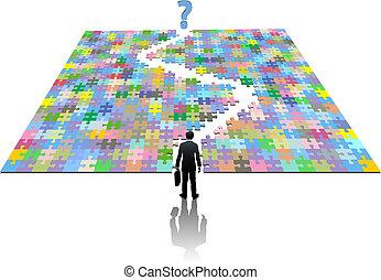 uomo affari, percorso, ricerca, puzzle, soluzione