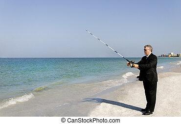 uomo affari, pesca