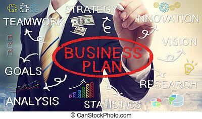 uomo affari, piano, disegno, concetti affari