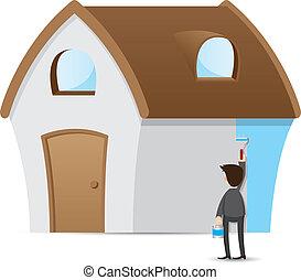 uomo affari, pittura, cartone animato, casa