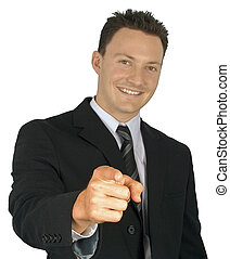 uomo affari, pointing.