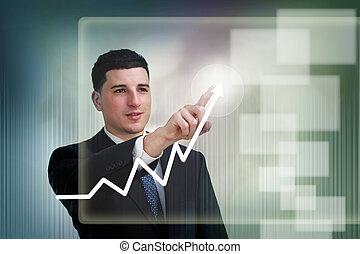 uomo affari, poiting, a, crescita, su, uno, grafico