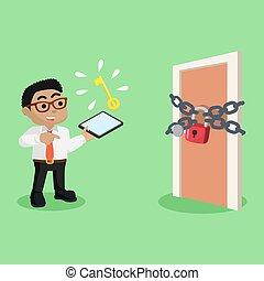 uomo affari, porta, chiuso chiave, africano