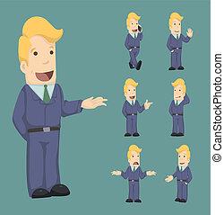 uomo affari, pose, set, caratteri