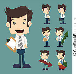 uomo affari, pose, set, tabelle, caratteri