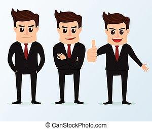 uomo affari, poses., set, caratteri