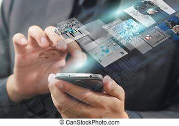 uomo affari, premere, virtuale, screen.business, concetto