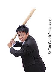 uomo affari, prendere, pipistrello baseball, con,...
