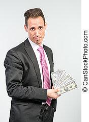 uomo affari, presa a terra, molto, di, soldi