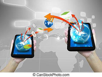 uomo affari, presa a terra, mondo, .technology, concetto