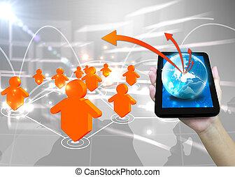 uomo affari, presa a terra, mondo, .technology, sociale, rete, concetto