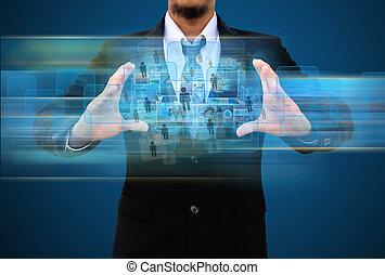 uomo affari, presa a terra, sociale, rete