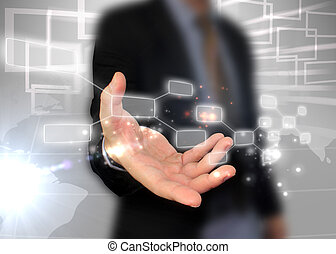 uomo affari, presa a terra, touchscreen