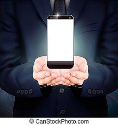 uomo affari, presa a terra, uno, smartphone