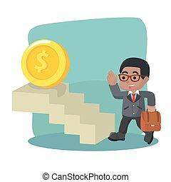 uomo affari, presa, moneta, scala, africano