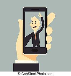 uomo affari, presa, selfie, phot
