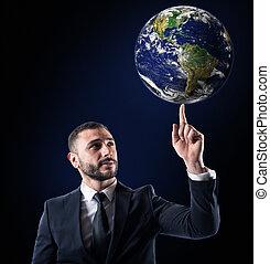uomo affari, prese, mondo, con, uno, finger., mondo, purché, vicino, nasa