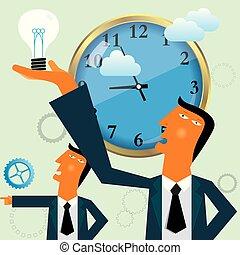 uomo affari, prese, su, uno, lampadina, davanti, il, clock.