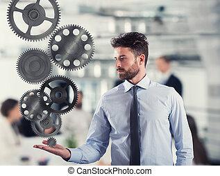 uomo affari, prese, uno, ingranaggio, system., concetto, di, affari, meccanismo