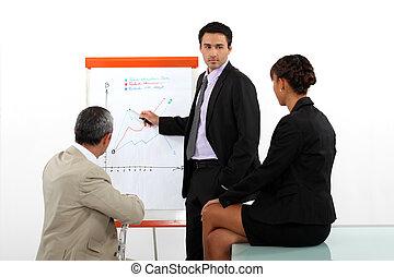 uomo affari, presentare, il, risultati, di, uno, ricerca mercato