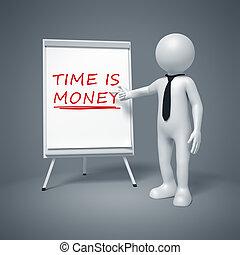 uomo affari, presentare, tempo è soldi