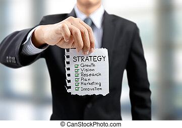 uomo affari, presente, strategia, crescita, visione, ricerca, piano, marketing, e, innovazione, concetto
