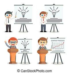 uomo affari, progetto serie, illustrazione, presentazione