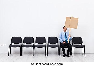 uomo affari, protestare, solo