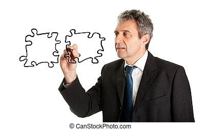 uomo affari, puzzle, jigsaw, disegno, pezzi