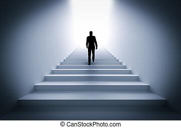 uomo affari, rampicante, il, scale, verso, light.