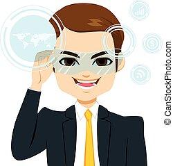uomo affari, realtà virtuale