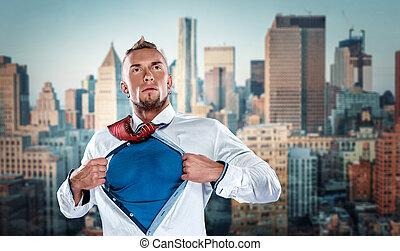 uomo affari, recitazione, come, eroe super, e, strappo, suo, camicia, spento