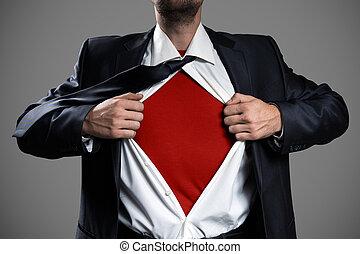 uomo affari, recitazione, come, uno, eroe super, e, strappo, suo, camicia, isolato, su, grigio, fondo., copia, space.