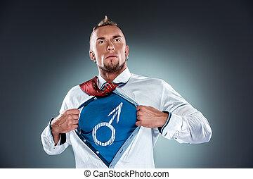 uomo affari, recitazione, come, uno, eroe super, e, strappo, suo, camicia, spento