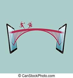 uomo affari, rete, comunicazione, concetto, fra, funziona, due, ponte, tablets.