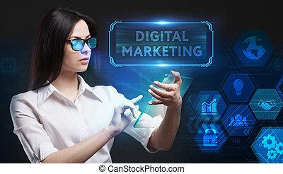 uomo affari, rete, giovane, virtuale, futuro, affari, inscription:, schermo, marketing, lavorativo, vede, tecnologia digitale, concept., internet