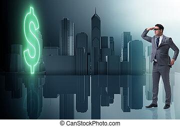uomo affari, ricerca, dollaro