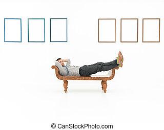 uomo affari, rilassato, galleria arte